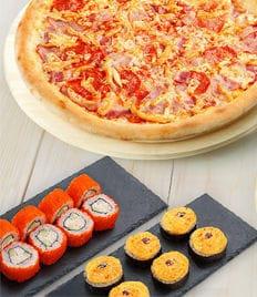 Горячая, вкусная пицца и роллы с доставкой от кафе-бара